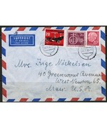 GERMANY Scott # 710,728 & 732 on 1956 AIR COVER to Mass. USA (21/7/56) (... - $7.87