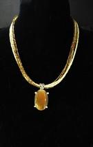 LARGE Tiger Eye necklace Vintage Gold Gemstone Metamorphic Rock cats eye womens  - $45.00