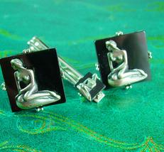 Mermaid Cufflinks Vintage Tie clip Nude Sea Goddess Swank Men's Fine Cuf... - $225.00