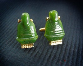 Vintage Jade Buddha Cufflinks Chinese Oriental Asian Good Luck Cool Gift... - $175.00