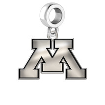 Minnesota Golden Gophers Silver College Bead Fits Bead Charm Style Brace... - $39.00