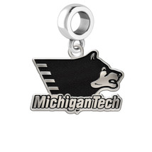 Michigan Tech Huskies Silver Logo Dangle Fits Bead Charm Style Bracelets - $39.00