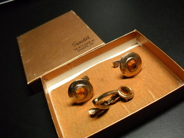 Speidel Cuff Links and Tie Bar 14kt Gold Overlay Original Gold Presentat... - $12.99