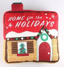 """Home For The Holiday's Wondershop 12"""" Red Accent Pillow Christmas House NWT image 4"""
