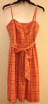 Ann Taylor Loft 6P Orange Plaid Dress Full Circle Skirt Pinup Rockabilly... - $59.99