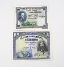 1925-1928 Spain 100 1000 Pesetas Notes Lot VF Banco de Espana Very Fine ... - $84.15