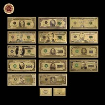 WR 14PCS Full Colored US Dollar Collection Set $1-$1 Billion Gold Bankno... - $47.88