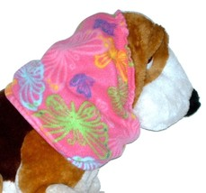 Pink Multicolor Butterflies Fleece Dog Snood by Howlin Hounds Size XL - $13.50