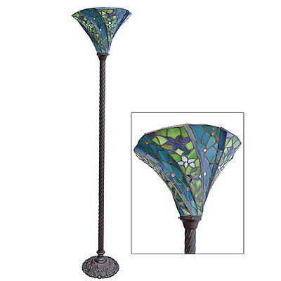 Antique Tiffany-style Blue Floral Torchiere Floor Lamp Iron,69''H.