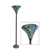 Antique Tiffany-style Blue Floral Torchiere Floor Lamp Iron,69''H. - $494.01