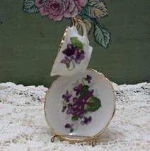 Vintage Miniature Porcelain Teacup with Saucer Purple Violet Design - $8.00