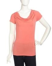 ELIE TAHARI Coral Orange Modal Cowl Neck Short Sleeve Top Basic T-Shirt ... - $28.04
