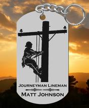 Journeyman Lineman Engraved Steel Keychain, Personalized FREE, Great Gift - $9.95