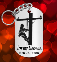 I LOVE my Lineman Engraved Steel Keychain, Personalized FREE, Great Gift - $9.95