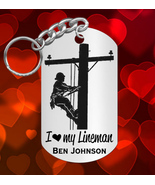 I LOVE my Lineman Engraved Steel Keychain, Personalized FREE, Great Gift - €9,18 EUR