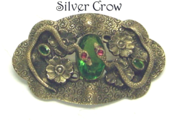 Antique Brass Snake and Green Glass Brooch Sash Pin - $174.99
