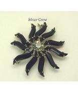 Vintage Black Rhinestone Daisy Brooch Pin  Austria - $15.99