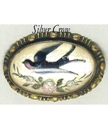 Vintage Glass Domed Iridescent Bird & Rose Brass Backed Pin - $24.99