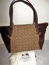 NEW COACH F54797 Brown Leather Khaki Jacquard Signature Ava ii Tote - €132,78 EUR