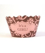 It's A Girl Pink and Brown Cupcake Wrappers - pack of 96 - $84.99