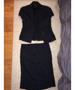 BCBG Max Azria Black Tulip Cotton Skirt Suit Size Small Size 4 Preowned - $34.99