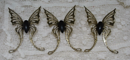 Vintage HOME INTERIORS Gold Metal Black Butterfly Wall Decor  - $16.00