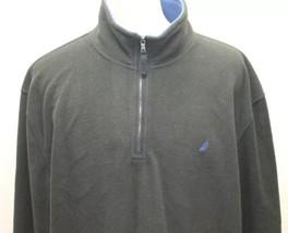 Nautica Men Fleece Jacket Turtle Neck Zipper Large Long Sleeve Black Winter - $46.39