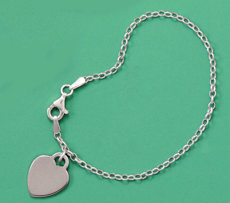6 quot solid 925 sterling silver charm bracelet with