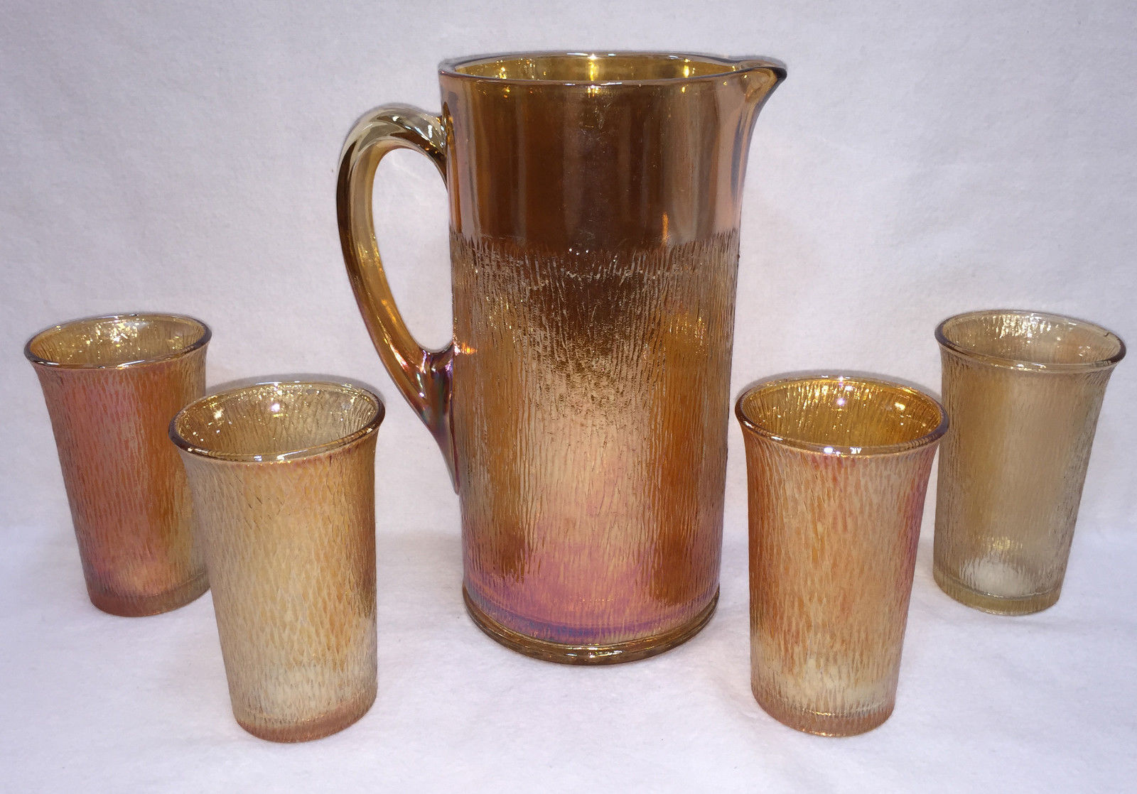 Pitcher & Glass Set Marigold Amber Carnival Glasses Birch Pattern Imperial 5 pcs