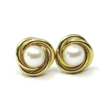 18K YELLOW GOLD PEARL BUTTON EARRINGS, 11 MM, 0.43 INCHES, FLOWER BRAIDED SPIRAL image 1