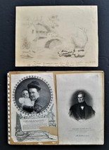 1850 antique DRAWING BOOK w SCRAPBOOK id'd new haven ct MARY ELIZABETH W... - $224.95