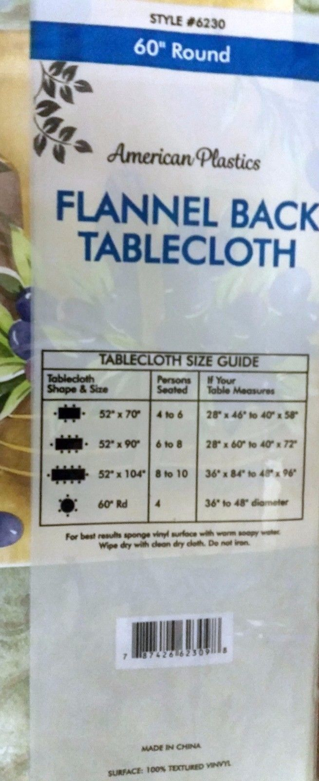 """FLANNEL BACK VINYL TABLECLOTH 60"""" Round, (4-6 people), OLIVE OIL BOTTLES by AP"""