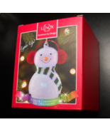 Lenox Wonder Ball Christmas Ornament Snowman Red Knit Muffs Lit Ornament Boxed - $19.99