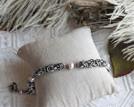 One of a Kind Sterling Silver Chainmaille Cultured Freshwater Pearl Bracelet - $113.99