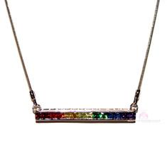 7 Colors Colorful Gods Promise Rainbow Cubic Zirconia Cz Single Row Bar Necklace - $49.50