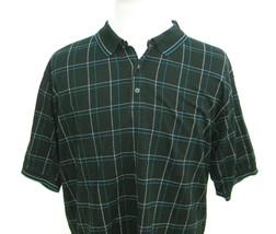 IZOD Mens Black Plaid Short Sleeve Golf Polo Shirt (Size XL) 100% Cotton... - $10.95