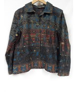 CHICO'S Denim jacket WEARABLE ART Abstract Size 1 (small) embroidered - $26.43