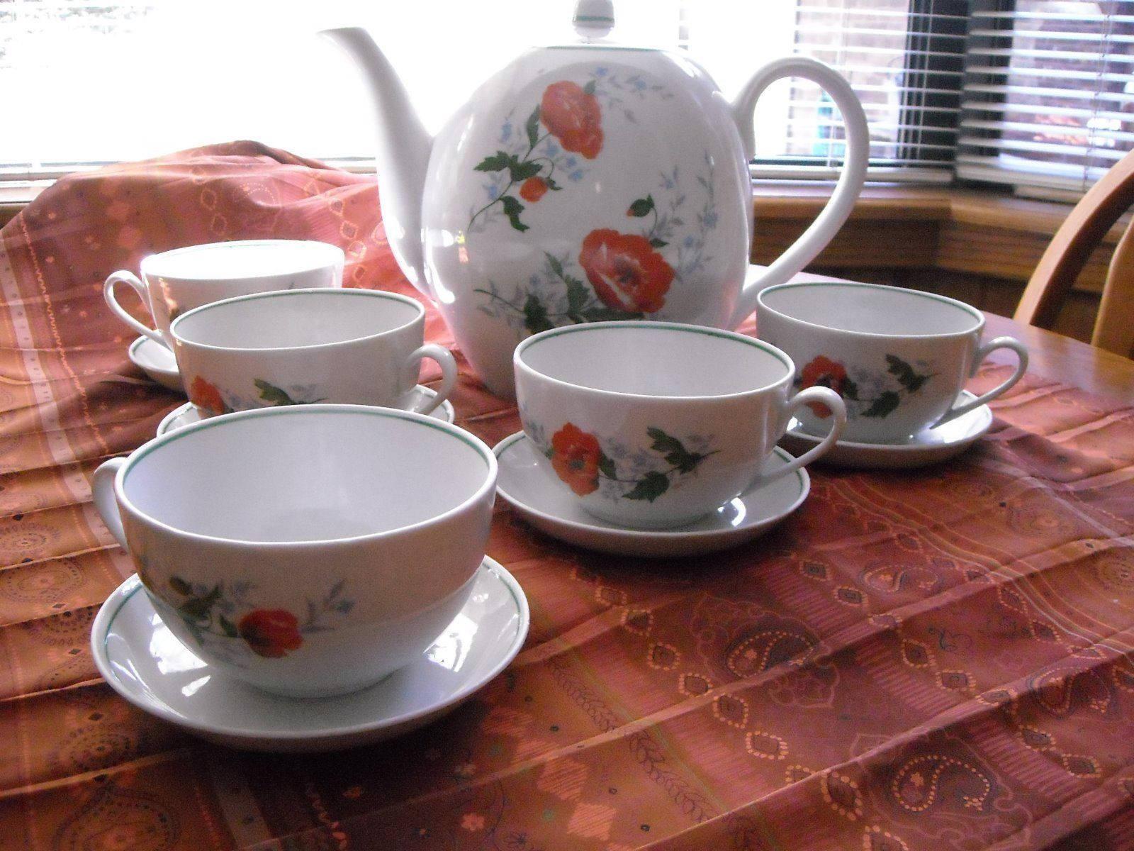 Antique Large Tea Pot & Large Cups Saucers Russian Dmitrov Verbilki Orange Poppy image 3