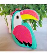 Girls Ladies Posh Pop Toucan Pouch Coin Bag  Small Bird Pink Green Wallet - $9.90