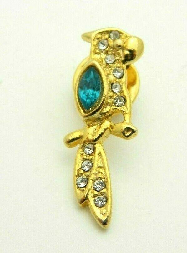 BAB Ballou Green Clear Glass Rhinestone Parrot Bird Gold Tone Tie Tack Vintage