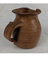 """Brown Signed Pottery Pouring Jug 4"""" - $21.03"""