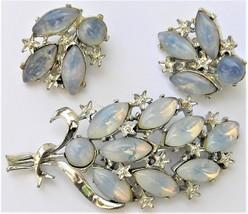 Vintage Moonglow Set Navette Rhinestone Brooch Clip On Earring - $14.97