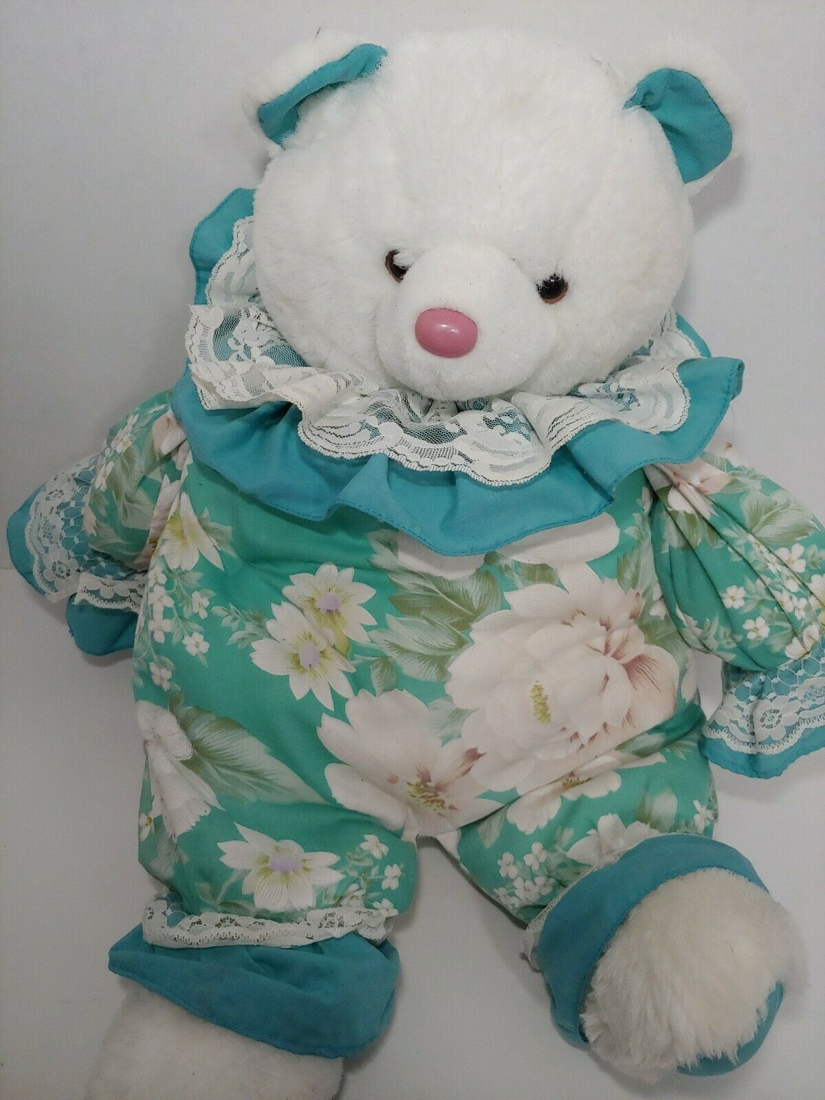 Enesco Plush white teddy bear green floral flowers outfit lace collar pink nose