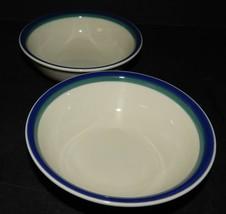 Pfaltzgraff USA Northwinds Soup Fruit Dessert Bowls Blue Green Bands Stoneware  - $25.73