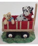 Hamilton Collection Dalmatian Dog Figurine Spot Takes A Ride 1996 Wagon - $15.79
