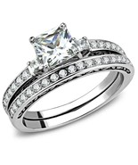 Women's Stainless Steel High polished CZ Clear 3.55(g) Engagement Ring - $13.08