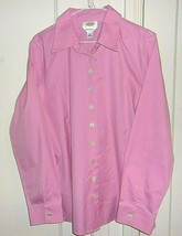 Talbots Womens Size 16 Button Front Long Sleeve Pink 100% Cotton Shirt - $26.96