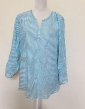 Grand & Greene Sz Large Striped White Blue Oversized Blouse 100% Cotton - $12.19
