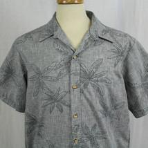 Cooke Street Honolulu Aloha Blue Palm Wood Button Hawaii Short Sleeve Sh... - $23.38