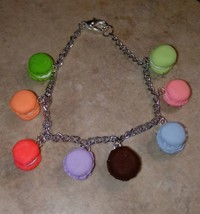 Colorful Miniature Macaron Charm Bracelet Silver Clay Cookie Pastel Spri... - $7.00